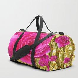 "FUCHSIA PINK ""ROSES & THORNS""  GOLD ART  ROSE  PATTERNS Duffle Bag"