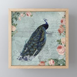 Vintage Victorian Peacock Bird and Roses Illustration Framed Mini Art Print