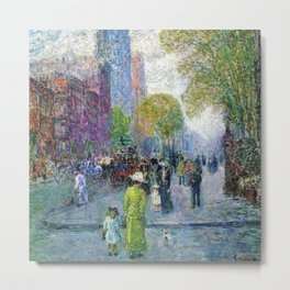 Classical Masterpiece 'Cathedral Spires - Spring Morning' by Frederick Childe Hassam Metal Print