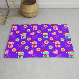 Baby bears with red Santa hats, vintage retro lollipops candy. Cute Christmas purple pattern Rug