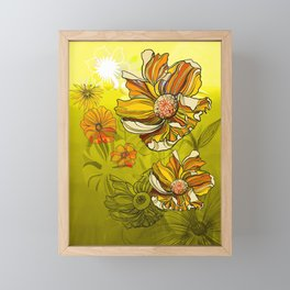Spring Summer retro vintage California poppies flowers 70s Framed Mini Art Print