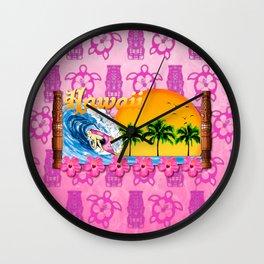 Pink Tiki And Hawaiian Surfing Wall Clock