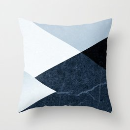 Geometrics II - blue marble & silver Throw Pillow