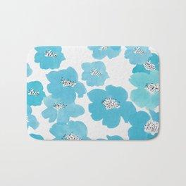 Camellia Flowers in Blue Pattern Bath Mat