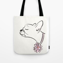 French Bulldog Pink Flower Collar Tote Bag