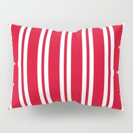 Red and White Wide Small Wide Stripes Pillow Sham