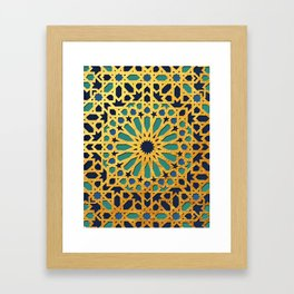 -A1_2- Golden Original Traditional Moroccan Artwork. Framed Art Print