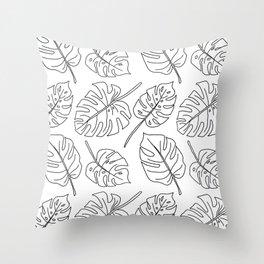 Monstera - Lines Throw Pillow