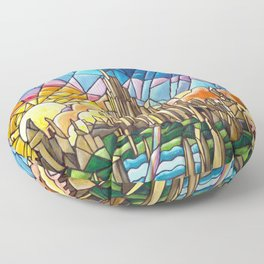 Asgard stained glass style Floor Pillow