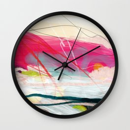 abstract landscape with pink sky over white cloud mountain Wall Clock