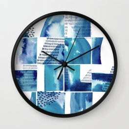 Blue Watercolor Typographical Fragments Cheater Quilt Wall Clock