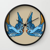 swallow Wall Clocks featuring Swallow Tattoo by Robert Karpati