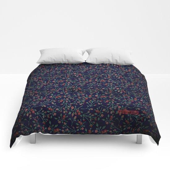 Navy Rose Garden Comforters
