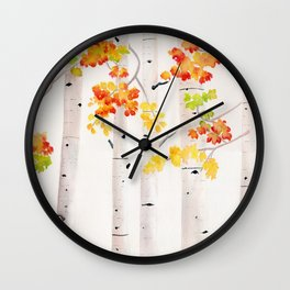 Autumn Birch Song Wall Clock