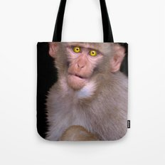 Young Rhesus Macaque Paintover Effect Tote Bag