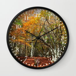 Wonderful and colorful autumn in the woods of Canfaito park, Italy Wall Clock