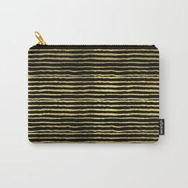 Gold and black stripes minimal modern painted abstract painting minimalist decor nursery Carry-All Pouch
