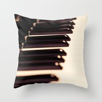 piano Throw Pillows featuring piano by noirblanc777