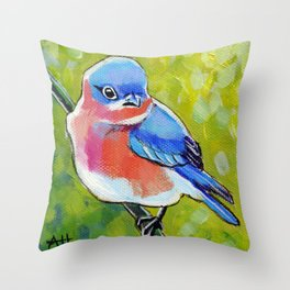Itty Bitty Bluebird Throw Pillow