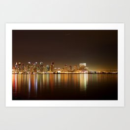 San Diego Skyline Night Art Print