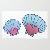 seashell Area & Throw Rugs featuring Seashell 💗 by Ana Turrubiates