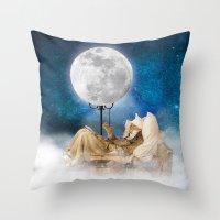 sandman Throw Pillows featuring Good Night Moon by Diogo Verissimo
