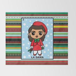 Christmas Loteria La Dama Throw Blanket