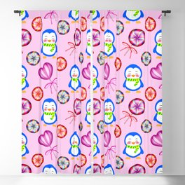 Funny happy baby penguins and sweet vintage retro lollipops. Cute pink winter pattern design. Blackout Curtain
