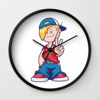 hip hop Wall Clocks featuring Hip Hop Cartoon Boy by pixaroma
