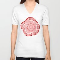 tree rings V-neck T-shirts featuring Red Tree Rings by Cat Coquillette