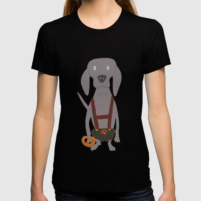 0d8fe41dd075d Oktoberfest German Weim Grey Ghost Weimaraner Dog Hand-painted Pet Drawing  T-shirt by podartist