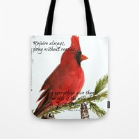 scripture Tote Bags featuring Cardinal with Scripture  by Melanie Dorsey Designs