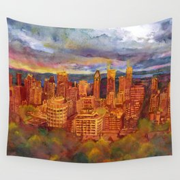Montreal from Mont Royal during Sunset Wall Tapestry