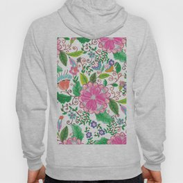 Hand made watercolor pink agate green floral Hoody