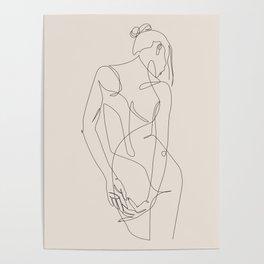 ligature - one line art - pastel Poster