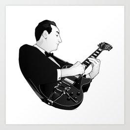 LES PAUL House of Sound - BLACK GUITAR Art Print