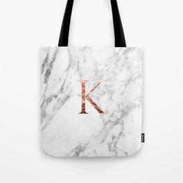 Monogram rose gold marble K Tote Bag
