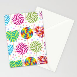 lollipops pattern, colorful spiral candy cane with twisted design Stationery Cards