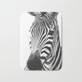 Black and white zebra illustration Bath Mat