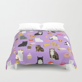 Cat breeds junk food pizza french fries food with cats gifts ice cream donuts Duvet Cover