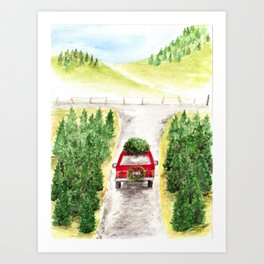 Christmas Tree Farm, Watercolor Art, Holiday, Winter Art Print