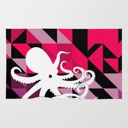 Octopus Geometric art Pink Purple Black Triangles design Nautical Modern Rug