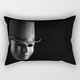 Black mask face wearing black top hat isolated on black background. Anonymity and mystery concept Rectangular Pillow