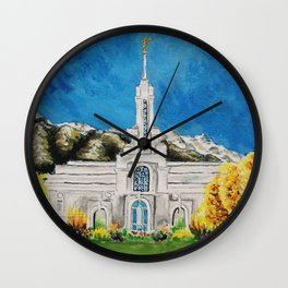 Mount Timpanogos Utah LDS Temple Autumn Wall Clock
