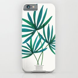 Fan Palm Fronds / Tropical Plant Illustration iPhone Case