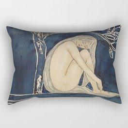 Girl sleeping under magnolia flowers Rectangular Pillow
