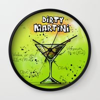 martini Wall Clocks featuring Dirty Martini by WonderfulDreamPicture