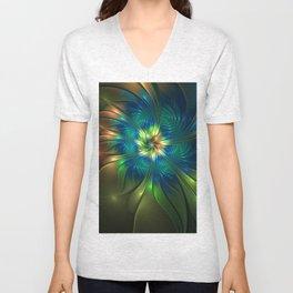 Fantasy Flower Abstract Fractal Art Unisex V-Neck