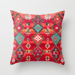 N197 - Red Oriental Heritage Bohemian Traditional Moroccan Style Throw Pillow