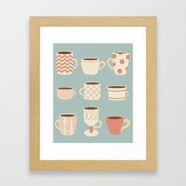 Retro Cups Too Framed Art Print